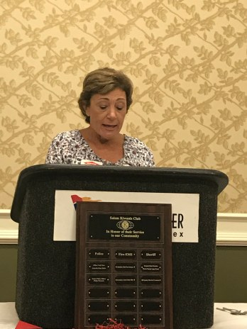 Salem Kiwanian Lisa Bain introducing Fire Department Honoree