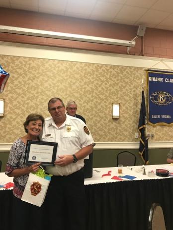 Lisa Bain and Battalion Chief Eddie Hite